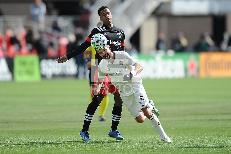 WASHINTON, DC - FEBRUARY 29: Washington, D.C. - February 29, 2020: Drew Moor #3 of the Colorado Rapids battles the ball with Ola Kamara #9 of D.C. United. The Colorado Rapids defeated D.C. United 2-1 during their Major League Soccer (MLS)  match at Audi Field during a game between Colorado Rapids and D.C. United at Audi FIeld on February 29, 2020 in Washinton, DC.