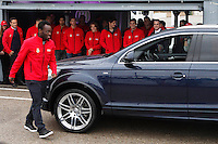 Real Madrid player Michael Essien participates and receives new Audi during the presentation of Real Madrid's new cars made by Audi at the Jarama racetrack on November 8, 2012 in Madrid, Spain.(ALTERPHOTOS/Harry S. Stamper) .<br />