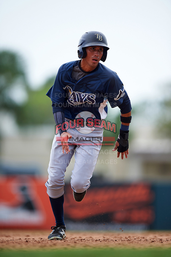GCL Rays outfielder Jaime Ayende (1) running the bases during the second game of a doubleheader against the GCL Orioles on August 1, 2015 at the Ed Smith Stadium in Sarasota, Florida.  GCL Orioles defeated the GCL Rays 11-4.  (Mike Janes/Four Seam Images)