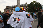 Belgian fans enjoying the party atmosphere after Women Elite Road Race of the UCI World Championships 2019 running 149.4km from Bradford to Harrogate, England. 28th September 2019.<br /> Picture: Seamus Yore | Cyclefile<br /> <br /> All photos usage must carry mandatory copyright credit (© Cyclefile | Seamus Yore)