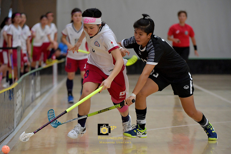 Japan's Yui Goto and Thailand's Onuma Doungsuda in action during the World Floorball Championships 2017 Qualification for Asia Oceania Region - Japan v Thailand at ASB Sports Centre , Wellington, New Zealand on Saturday 4 February 2017.<br /> Photo by Masanori Udagawa<br /> www.photowellington.photoshelter.com.