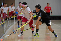 Japan&rsquo;s Yui Goto and Thailand&rsquo;s Onuma Doungsuda in action during the World Floorball Championships 2017 Qualification for Asia Oceania Region - Japan v Thailand at ASB Sports Centre , Wellington, New Zealand on Saturday 4 February 2017.<br /> Photo by Masanori Udagawa<br /> www.photowellington.photoshelter.com.