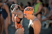 Rose Seabrook '17 prepares for the women's 200 yard freestyle. The Occidental College swim team competes against Lewis & Clark College and Westminster College in Taylor Pool on Jan. 6, 2015. (Photo by Marc Campos, Occidental College Photographer)