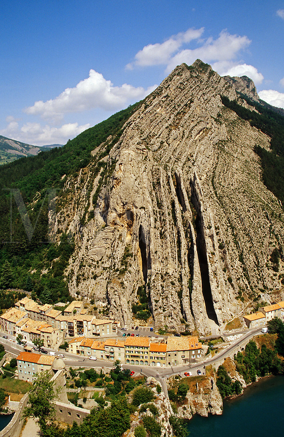 View from The Citadel at Sisteron across the Gateway of Provence to the Rocher de la Baume. Provence, France..
