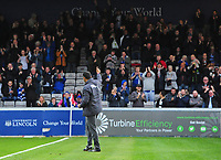 Chesterfield manager Jack Lester applauds the fans before kick off<br /> <br /> Photographer Chris Vaughan/CameraSport<br /> <br /> The EFL Sky Bet League Two - Lincoln City v Chesterfield - Saturday 7th October 2017 - Sincil Bank - Lincoln<br /> <br /> World Copyright &copy; 2017 CameraSport. All rights reserved. 43 Linden Ave. Countesthorpe. Leicester. England. LE8 5PG - Tel: +44 (0) 116 277 4147 - admin@camerasport.com - www.camerasport.com