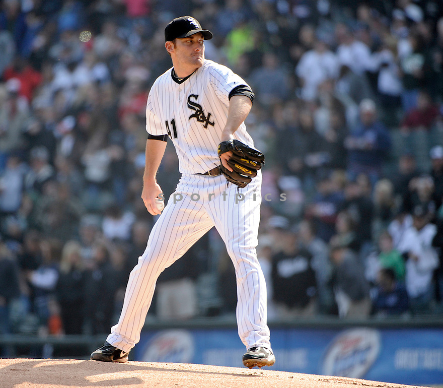 PHILIP HUMBER, of the Chicago White Sox , in actions during the White Sox game against the Tampa Bay Rays  at US Cellular Field on April 9, 2011.  The Chicago White Sox won the game beating the Tampa Bay Rays 4-2.