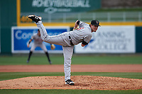 Wisconsin Timber Rattlers relief pitcher Chad Whitmer (28) during a Midwest League game against the Lansing Lugnuts at Cooley Law School Stadium on May 1, 2019 in Lansing, Michigan. Wisconsin defeated Lansing 8-3 after the game was suspended from the previous night. (Zachary Lucy/Four Seam Images)