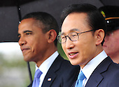United States President Barack Obama and South Korean President Lee Myung-bak during an arrival ceremony on the South Lawn of the White House in Washington, D.C. on Thursday, October 13, 2011.  .Credit: Kevin Dietsch / Pool via CNP