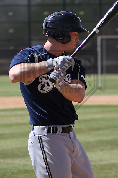 MARYVALE - March 2014: Michael Ratterree of the Milwaukee Brewers during a spring training workout on March 18th, 2014 at Maryvale Baseball Park in Maryvale, Arizona.  (Photo Credit: Brad Krause)