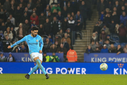 19th December 2017, King Power Stadium, Leicester, England; Carabao Cup quarter-final, Leicester City versus Manchester City; Ilkay Gundogan of Manchester City scores his penalty in penalty shoot out