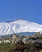 Italy, Sicily, Castiglione di Sicilia and volcano Etna