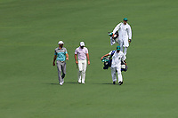 Dustin Johnson (USA) and Jason Day (AUS) on the 2nd fairway during the 2nd round at the The Masters , Augusta National, Augusta, Georgia, USA. 12/04/2019.<br /> Picture Fran Caffrey / Golffile.ie<br /> <br /> All photo usage must carry mandatory copyright credit (© Golffile | Fran Caffrey)