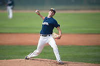 Helena Brewers starting pitcher Justin Bullock (25) delivers a pitch during a Pioneer League game against the Grand Junction Rockies at Kindrick Legion Field on August 19, 2018 in Helena, Montana. The Grand Junction Rockies defeated the Helena Brewers by a score of 6-1. (Zachary Lucy/Four Seam Images)