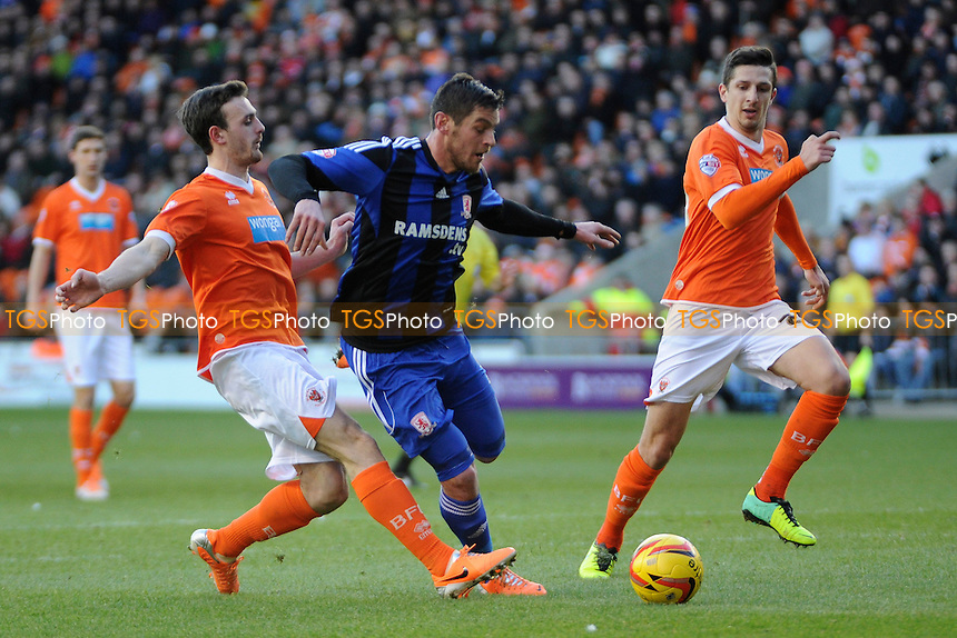 Lucas Jutkiewicz of Middlesbrough through on goal - Blackpool vs Middlesbrough - Sky Bet Championship Football at Bloomfield Road, Blackpool, Lancashire - 11/01/14 - MANDATORY CREDIT: Greig Bertram/TGSPHOTO - Self billing applies where appropriate - 0845 094 6026 - contact@tgsphoto.co.uk - NO UNPAID USE