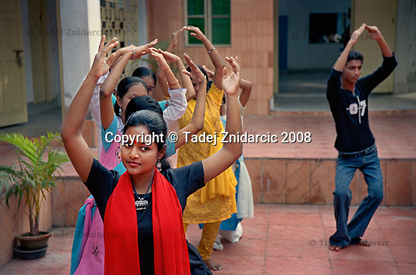 Participants from Bangladesh, Nepal and India perform a dance at the conclusion of the regional dance movement therapy workshop organized by Kolkata Sanved. Kolkata, India.