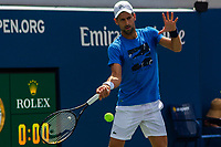 NEW YORK, USA - August 22 : Novak Djokovic during his  practicing game on Grandstand court on August 22, 2019 in New York, USA.<br /> People attend US Open the fan week with Featured practice matches with Roger Federer and Novak Djokovic <br /> (Photo by Luis Boza/VIEWpress)