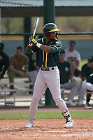 Oakland Athletics center fielder Dairon Blanco (30) at bat during a Minor League Spring Training game against the Chicago Cubs at Sloan Park on March 13, 2018 in Mesa, Arizona. (Zachary Lucy/Four Seam Images)