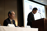 May 15, 2017, Tokyo, Japan - Japan's electronics giant Toshiba CFO Masayoshi Hirata (R) announces the company's financial result ended March 31 while president Satoshi Tsunakawa (L) looks on at the Toshiba headquarters in Tokyo on Monday, May 15, 2017. Toshiba estimated net loss of 950 billion yen and 540 billion yen negative net worth at the end of March.   (Photo by Yoshio Tsunoda/AFLO) LwX -ytd-