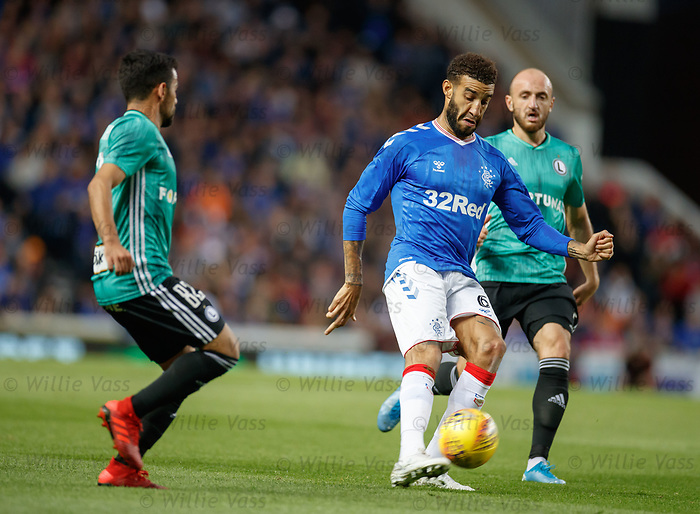 29.08.2019 Rangers v Legia Warsaw: Connor Goldson with Luquinhas and Valerian Gvilla