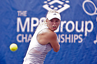 April 11, 2010:  MPS Group Championships.  Caroline Wozniacki (DEN) eyes a backhand return against Olga Govortsova (BLR) (not pictured) during finals singles action at the MPS Group Championships played at the Sawgrass Country Club in Ponte Vedra, Florida.  Caroline Wozniacki (DEN) defeated Olga Govortsova (BLR) 6-2, 7-5 to win the tournament for the second consecutive year..