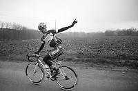 Iljo Keisse (BEL) running on empty &amp; needing some assistance<br /> <br /> Omloop Het Nieuwsblad 2014