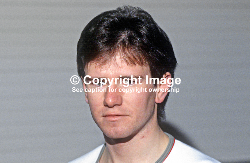 Brendan Mellor, Ballyearl, N Ireland, Irish squash player, 19840158BM1.<br /> <br /> Copyright Image from Victor Patterson, 54 Dorchester Park, Belfast, UK, BT9 6RJ<br /> <br /> t1: +44 28 9066 1296 (from Rep of Ireland 048 9066 1296)<br /> t2: +44 28 9002 2446 (from Rep of Ireland 048 9002 2446)<br /> m: +44 7802 353836<br /> <br /> e1: victorpatterson@me.com<br /> e2: victorpatterson@gmail.com<br /> <br /> The use of my copyright images is subject to my Terms &amp; Conditions.<br /> <br /> It is IMPORTANT that you familiarise yourself with them. They are available on my website at www.victorpatterson.com.<br /> <br /> None of my copyright images may be used on a website unless they are visibly watermarked, i.e. &copy; Victor Patterson within the body of the visible image. Metadata denoting my copyright must NOT be deleted. <br /> <br /> Web use is extra at currently recommended NUJ rates.