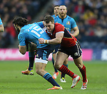 Luke McLean of Italy tackled by Stuart Hogg of Scotland - RBS 6Nations 2015 - Scotland  vs Italy - BT Murrayfield Stadium - Edinburgh - Scotland - 28th February 2015 - Picture Simon Bellis/Sportimage