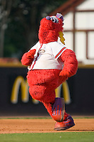 "Winston-Salem Dash mascot ""Bolt"" participates in the mascot race between innings at Wake Forest Baseball Stadium August 9, 2009 in Winston-Salem, North Carolina. (Photo by Brian Westerholt / Four Seam Images)"