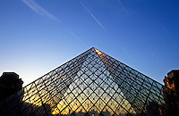 France, Paris, The Louvre and the Pyramid by I M Pei