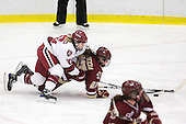 Anna McDonald (Harvard - 10), Mary Restuccia (BC - 22) - The Harvard University Crimson defeated the Boston College Eagles 5-0 in their Beanpot semi-final game on Tuesday, February 2, 2010 at the Bright Hockey Center in Cambridge, Massachusetts.