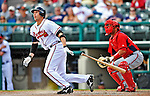 6 March 2012: Atlanta Braves outfielder Jordan Parraz in action during a Spring Training game against the Washington Nationals at Champion Park in Disney's Wide World of Sports Complex, Orlando, Florida. The Nationals defeated the Braves 5-2 in Grapefruit League action. Mandatory Credit: Ed Wolfstein Photo
