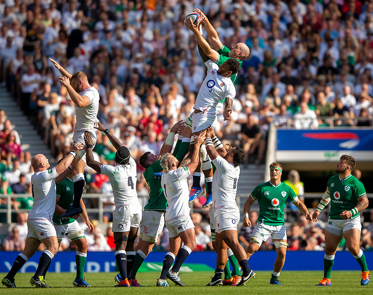 England's Courtney Lawes competes at the line out<br /> <br /> Photographer Bob Bradford/CameraSport<br /> <br /> Quilter Internationals - England v Ireland - Saturday August 24th 2019 - Twickenham Stadium - London<br /> <br /> World Copyright © 2019 CameraSport. All rights reserved. 43 Linden Ave. Countesthorpe. Leicester. England. LE8 5PG - Tel: +44 (0) 116 277 4147 - admin@camerasport.com - www.camerasport.com
