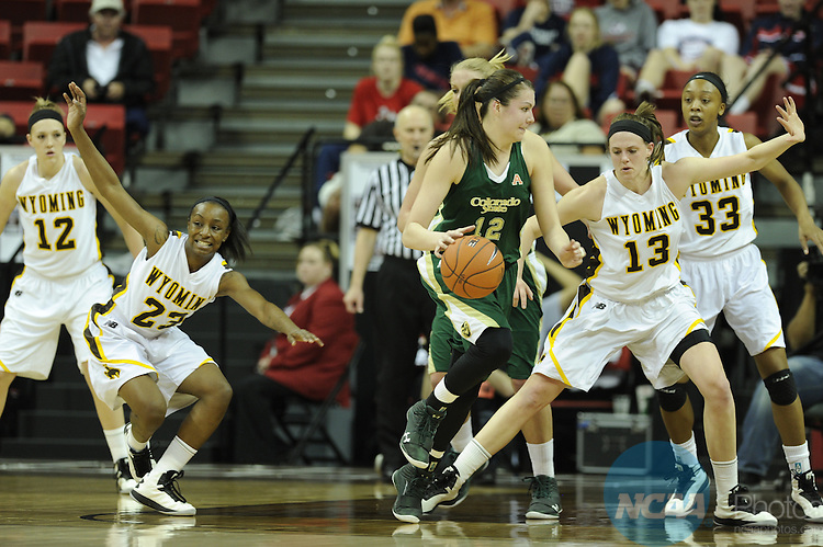 14 MAR 2013:  Colorado State University takes on the University of Wyoming during the Mountain West Conference Women's Basketball Tournament held at the Thomas & Mack Center in Las Vegas, NV. Justin Tafoya/NCAA Photos