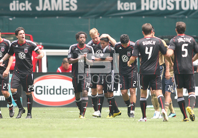 Danny Allsopp #9 of D.C. United with Andy Najar #14 after Allsopp scored his first goal during an MLS match against the Philadelphia Union at RFK Stadium on August 22 2010, in Washington DC. United won 2-0.