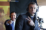 14 December 2014: ESPN broadcasters Taylor Twellman and Glenn Davis (behind). The University of Virginia Cavaliers played the University of California Los Angeles Bruins at WakeMed Stadium in Cary, North Carolina in the 2014 NCAA Division I Men's College Cup championship match. Virginia won the championship by winning the penalty kick shootout 4-2 after the game ended in a 0-0 tie after overtime.