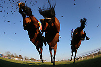 The field in jumping action during the ladbrokes.com Kent National (Handicap Chase).