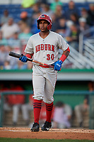 Auburn Doubledays Landerson Pena (30) at bat during a NY-Penn League game against the Batavia Muckdogs on August 31, 2019 at Dwyer Stadium in Batavia, New York.  Auburn defeated Batavia 12-5.  (Mike Janes/Four Seam Images)
