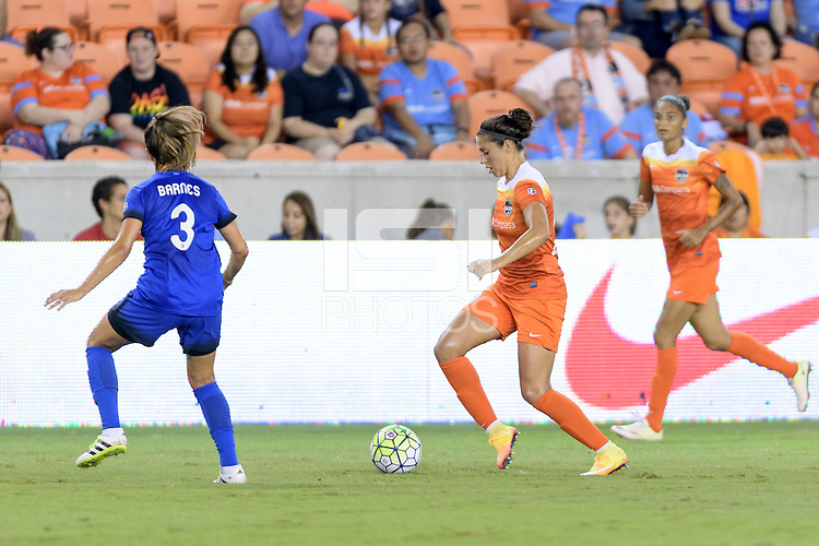 Houston, TX - Sunday Sept. 25, 2016: Lauren Barnes, Carli Lloyd during a regular season National Women's Soccer League (NWSL) match between the Houston Dash and the Seattle Reign FC at BBVA Compass Stadium.