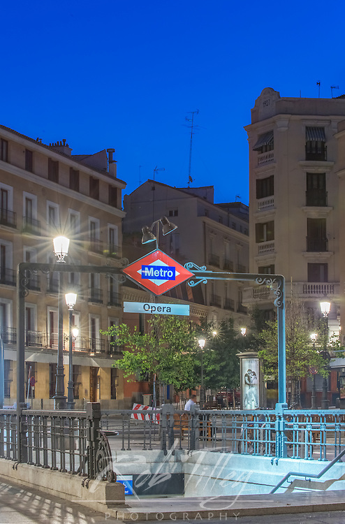 Spain, Madrid, Opera Metro Station at Dawn