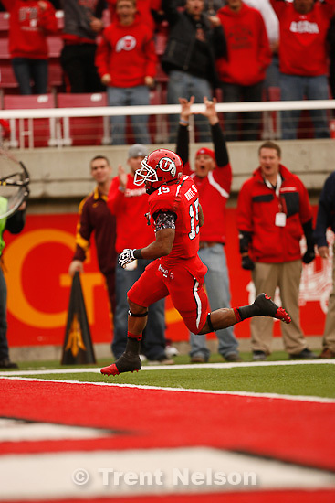 Trent Nelson  |  The Salt Lake Tribune.Utah running back John White runs into the end zone for a touchdown during the first quarter, Utah vs. Arizona State, college football at Rice-Eccles Stadium in Salt Lake City, Utah, Saturday, October 8, 2011.