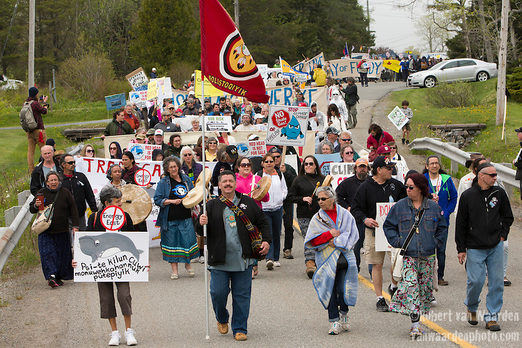 On May 30, 2015, over 500 Canadian citizens and First Nations marched in Red Head, Saint John, at the End of the Line for the proposed Energy East pipeline. The people were protesting the proposed mega pipeline and the tank terminal that would destroy the Red Head community and endanger the Bay of Fundy. If approved, TransCanada's Energy East pipeline would travel 4600km from Alberta to Saint John, New Brunswick, shipping 1.1 million barrels of crude oil and bitumen for export through the Bay of Fundy, a critical habit for Right whales and home to thousands of jobs in Tourism and Fishing.