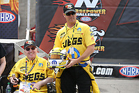Apr. 6, 2013; Las Vegas, NV, USA: NHRA pro stock driver Jeg Coughlin during the K&N Horsepower Challenge during qualifying for the Summitracing.com Nationals at the Strip at Las Vegas Motor Speedway. Mandatory Credit: Mark J. Rebilas-
