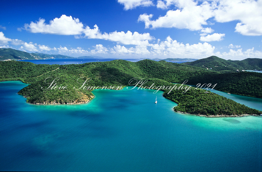 Aerial view of Hurricane Hole<br /> St. John, U.S. Virgin Islands