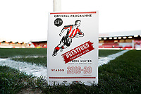 11th February 2020; Griffin Park, London, England; English Championship Football, Brentford FC versus Leeds United; The Match Programme for tonight's game on the corner flag