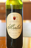 A bottle of Merlot Kantina e Pijeve Gjergj Kastrioti Skenderbeu Skanderbeg winery, Durres. Albania, Balkan, Europe.
