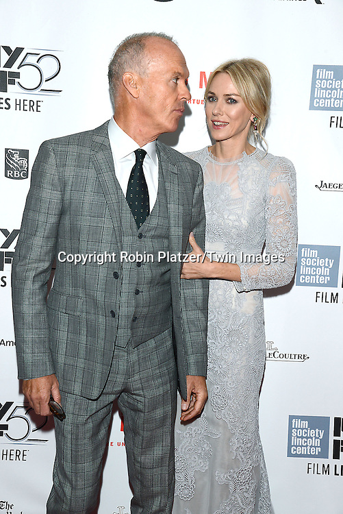 Michael Keaton and Naomi Watts attends &quot;Birdman or The Unexpected Virtue of Ignorance&quot; screening at The 52nd New York Film Festival on October 11, 2014 at Alice Tully Hall in New York City. <br /> <br /> photo by Robin Platzer/Twin Images<br />  <br /> phone number 212-935-0770