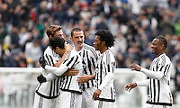 Calcio, Serie A: Juventus vs Carpi. Torino, Juventus Stadium, 1 maggio 2016.<br /> Juventus' Hernanes, second from left, celebrates with teammates, from right, Alex Sandro, Juan Cuadrado, Leonardo Bonucci and Daniele Rugani, left, after scoring during the Italian Serie A football match between Juventus and Carpi at Turin's Juventus Stadium, 1 May 2016. Juventus won 2-0.<br /> UPDATE IMAGES PRESS/Isabella Bonotto