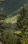 Church and homes along the Hahntennjoch pass between Imst and Elmen. Tyrol/Tirol Austria.
