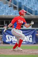 Catcher Drew Lugbauer (50) of Arlington High School in Pleasant Valley, New York playing for the Philadelphia Phillies scout team during the East Coast Pro Showcase on July 31, 2013 at NBT Bank Stadium in Syracuse, New York.  (Mike Janes/Four Seam Images)