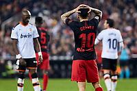 14th February 2020; Mestalla, Valencia, Spain; La Liga Football,Valencia versus Atletico Madrid; Angel Correa of Atletico Madrid reacts to a good scoring chance going wide of the goal